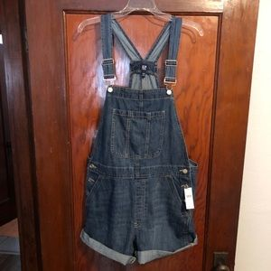 Denim overall shorts NWT